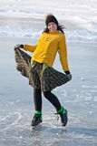 Girl with skates. Royalty Free Stock Photos