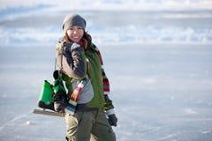 Girl with skates. Stock Photos