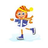 Girl skates. Childrens fun in winter on white background. Girl skates Royalty Free Stock Photo