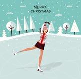 Girl on skates. Christmas decoration with a Girl on skates Royalty Free Stock Photos