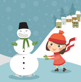 Girl skates with snowman Stock Image