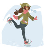 Girl on Skates. The vector illustration of cute young girl on skates for games presentations, ui tablets, smart phones Stock Image
