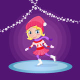 Girl skating at the ice rink. Vector winter illustration Stock Image