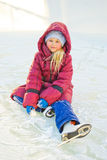 Girl skating on ice. Girl on a sunny day skating on ice stock image