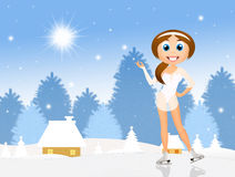 Girl skating on ice in winter. Illustration of girl skating on ice in winter Stock Photo