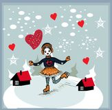 Girl skating at the rink in front of the houses Royalty Free Stock Photos