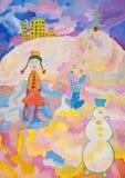 Girl on a skating rink in winter stock illustration