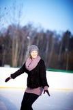 Girl on a skating rink Royalty Free Stock Photo
