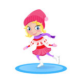 Girl skating on the rink. Winter vector cartoon character. Royalty Free Stock Images