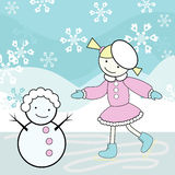 Girl skating and snowman. Vector illustration of a little girl with snowman Stock Image