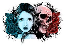 Girl with skeleton make up hand drawn vector sketch. Santa muerte woman witch portrait stock illustration Day of the. Girl with skeleton make up hand drawn royalty free illustration
