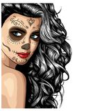 Girl with skeleton make up hand drawn vector sketch. Santa muerte woman witch portrait stock illustration vector illustration