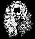Girl with skeleton make up hand drawn vector sketch. Santa muerte woman witch portrait stock illustration royalty free illustration