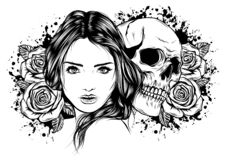 Girl with skeleton make up hand drawn vector sketch. Santa muerte woman witch portrait stock illustration Day of the. Girl with skeleton make up hand drawn stock illustration