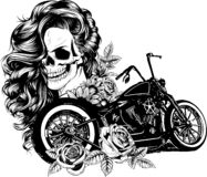 Girl with skeleton make up hand drawn vector sketch. Santa muerte woman witch portrait stock illustration stock illustration