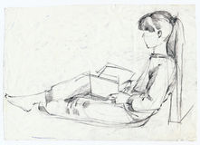 Girl, sketch. Hand drawing picture, girl-s pose, pencil Stock Photos
