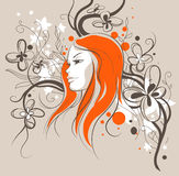 Girl sketch with floral background Stock Photo