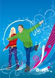 Girl sketer and boy skater. Two dancings figure skaters, girl and boy Stock Photo