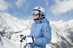 Girl with ski Royalty Free Stock Photo