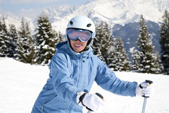 Girl with ski Royalty Free Stock Photography