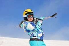Girl with ski Royalty Free Stock Photos