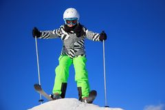 Girl on the ski Stock Photography
