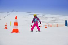 Girl on the ski Royalty Free Stock Photos