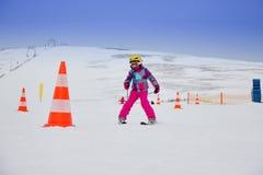 Girl on the ski royalty free stock photos