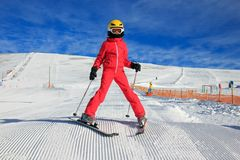 Girl on the ski Stock Images