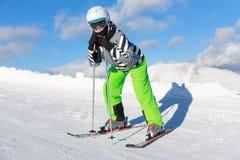 Girl on the ski Royalty Free Stock Photo