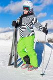 Girl with ski Stock Photo