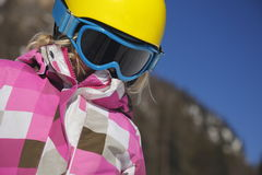 Girl with ski equipment Royalty Free Stock Photos