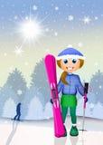 Girl with ski Royalty Free Stock Photos