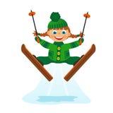 Girl on ski jumping. Childrens fun in winter on white background. Girl on ski jumping Royalty Free Stock Image