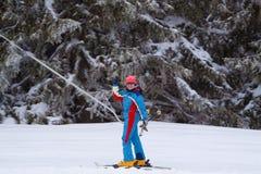 Girl On the ski lift Royalty Free Stock Photo