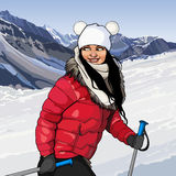 Girl with ski poles in snowy mountains. Cartoon girl with ski poles in snowy mountains Stock Photo