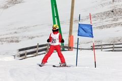 Girl on the ski race Stock Images