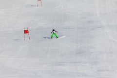 Girl on the ski race Royalty Free Stock Photo