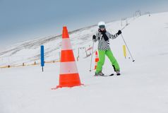 Girl on the ski race Stock Image