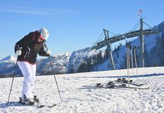 The girl in the ski resort Royalty Free Stock Images