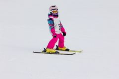 Girl on the ski Royalty Free Stock Images