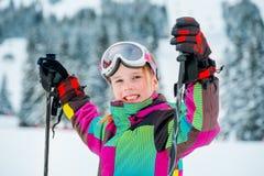 Girl at the ski slope Stock Photos