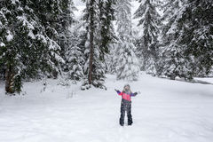 Girl ski suit throwing snow in the air Stock Images
