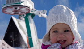 Girl and ski tow Royalty Free Stock Image