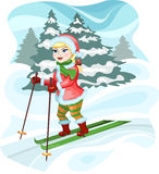 Girl skier Royalty Free Stock Images
