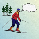 Girl skier on downhill Royalty Free Stock Photography