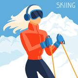 Girl skier on mountain winter landscape background Stock Photo