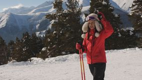 Girl skier in a ski resort stock video footage