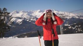 Girl skier in a ski resort stock footage