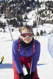 Girl skiing Stock Images
